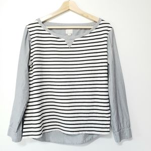 Anthropologie Postage Stamp Hi-Lo Striped Top M